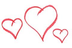 Três corações desenhados Imagem de Stock