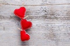 Três corações do amor Foto de Stock