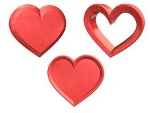 Três corações do projeto Imagem de Stock Royalty Free