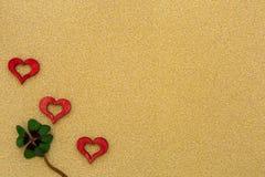 Três corações e um trevo Fotos de Stock