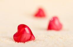 Três corações na toalha Imagem de Stock