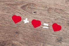 Três corações vermelhos Imagem de Stock