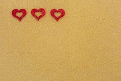 Três corações vermelhos Fotos de Stock Royalty Free