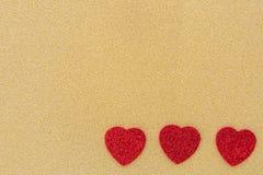 Três corações vermelhos Imagens de Stock Royalty Free