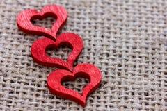 Três corações vermelhos Fotografia de Stock