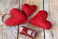 Três corações vermelhos feitos à mão Imagem de Stock Royalty Free