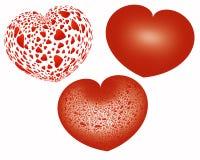Três corações vermelhos sobre o fundo branco Fotos de Stock Royalty Free