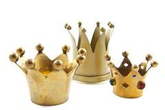 Três coroas douradas Fotos de Stock Royalty Free