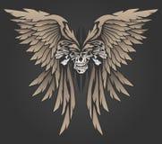 Três crânios com ilustração do vetor das asas Imagens de Stock Royalty Free