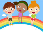 Três crianças bonitos que sentam-se no arco-íris Fotos de Stock