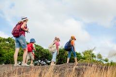Três crianças e mãe nas montanhas Fotos de Stock Royalty Free