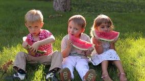 Três crianças estão comendo a melancia no parque do verão que senta-se na grama verde filme