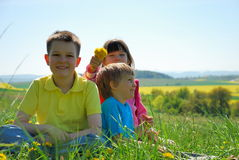 Três crianças felizes no prado Imagem de Stock Royalty Free