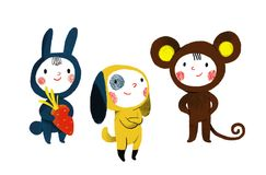 Três crianças nos ternos animais ilustração royalty free