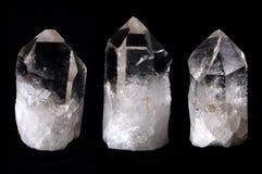 Três cristais de quartzo da rocha Fotografia de Stock Royalty Free