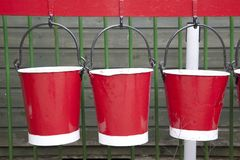 Três cubetas vermelhas Foto de Stock Royalty Free