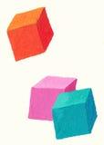 Três cubos coloridos Fotos de Stock Royalty Free