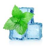 Três cubos e hortelã de gelo foto de stock royalty free