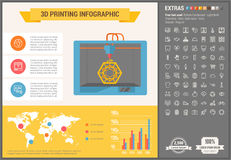 Três D que imprimem o molde liso de Infographic do projeto ilustração royalty free