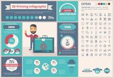 Três D que imprimem o molde liso de Infographic do projeto Fotos de Stock