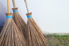 Três da vassoura da folha dos cocos Fotografia de Stock