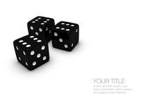 Três dados pretos do casino Imagens de Stock Royalty Free