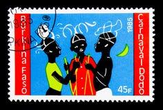 Três dançarinos, serie de Dodo Carnival, cerca de 1986 foto de stock royalty free