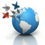 Três dardos que furam em America do Norte no globo Foto de Stock