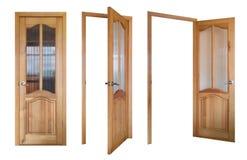 Três de madeira e portas de vidro Fotos de Stock