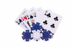 Três de um tipo com microplaquetas de póquer Imagens de Stock Royalty Free