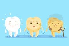 Três dentes bonitos diferentes dos desenhos animados Imagens de Stock