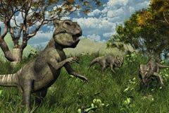 Três dinossauros de Archaeoceratops que exploram Imagem de Stock