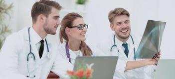 Três doutores que olham atentamente no raio X e que discutem o fotos de stock