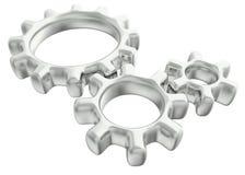 Três engrenagens 3d feitas do metal e do vidro Fotografia de Stock Royalty Free