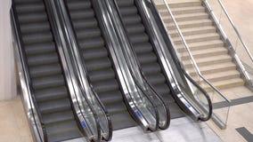 Três escadas rolantes no shopping Escadarias moventes das escadas rolantes no movimento nenhuns povos A imagem contém um ruído pe video estoque