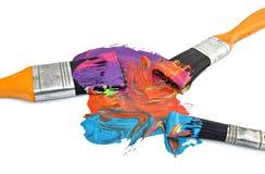 Três escovas de pintura Foto de Stock