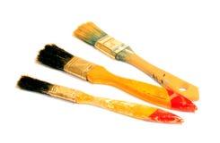 Três escovas de pintura Fotografia de Stock