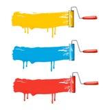 Três escovas do rolo da cor. ilustração royalty free