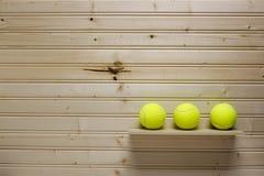 Três esferas de tênis Fotografia de Stock Royalty Free