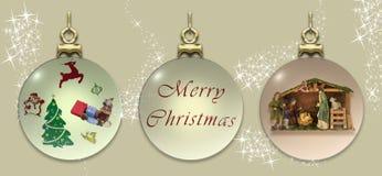 Três esferas do Natal Imagem de Stock Royalty Free