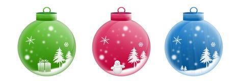 Três esferas do Natal Fotos de Stock Royalty Free