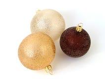 Três esferas do Natal isolaram-se Imagem de Stock Royalty Free