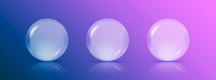 Três esferas ou bolas transparentes com reflexões no fundo roxo-azul Ilustração EPS10 do vetor ilustração do vetor