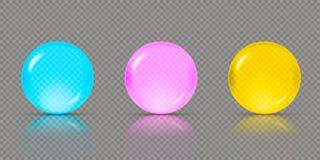 Três esferas ou bolas transparentes realísticas em máscaras diferentes de cores verdes azuis, cor-de-rosa e amarelas com reflexõe ilustração do vetor