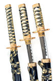 Três espadas japonesas do katana do samurai imagens de stock royalty free
