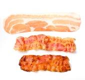Três estágios diferentes do bacon fotos de stock
