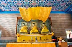 Três estátuas da Buda dentro do templo budista Fotos de Stock Royalty Free