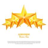 Três estrelas do vetor da realização Sinal amarelo Símbolo dourado da decoração ícone do brilho 3d isolado no fundo branco ilustração stock
