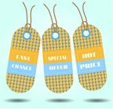 Três etiquetas com texto, última oportunidade, oferta especial, Fotos de Stock Royalty Free