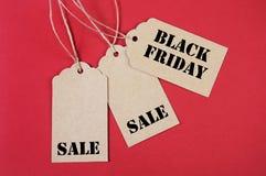 Três etiquetas da venda de Black Friday Fotografia de Stock